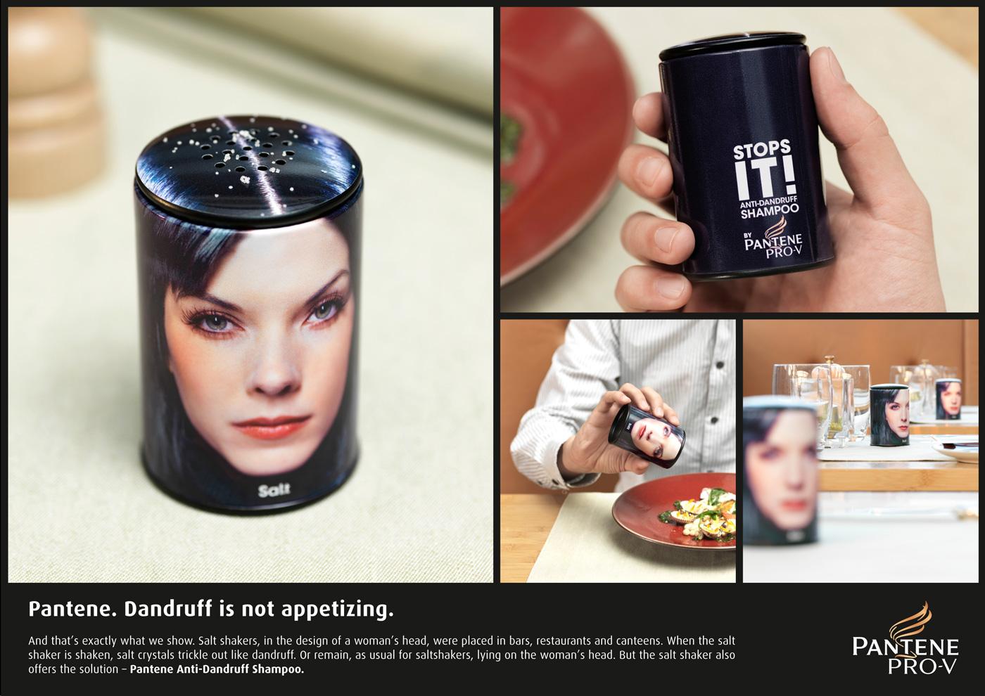Pantene Dandruff Головастая солонка рекламирует шампунь